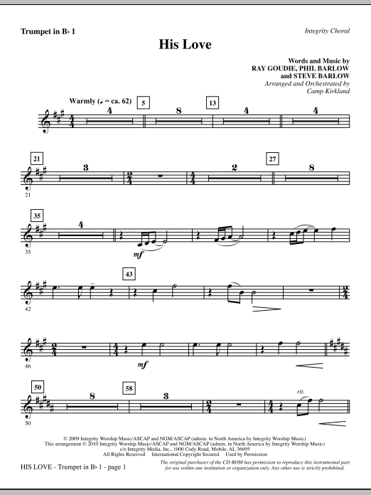 His Love - Trumpet 1 Sheet Music