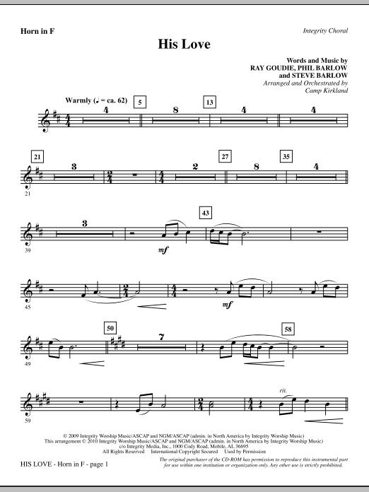 His Love - F Horn Sheet Music
