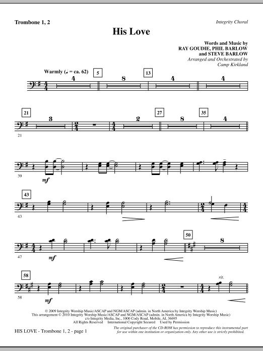 His Love - Trombone 1 & 2 Sheet Music