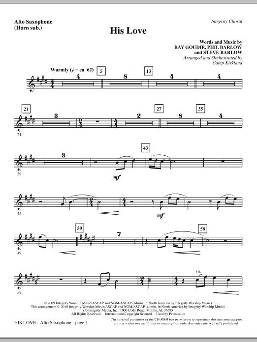 His Love - Alto Sax (sub. Horn) Sheet Music