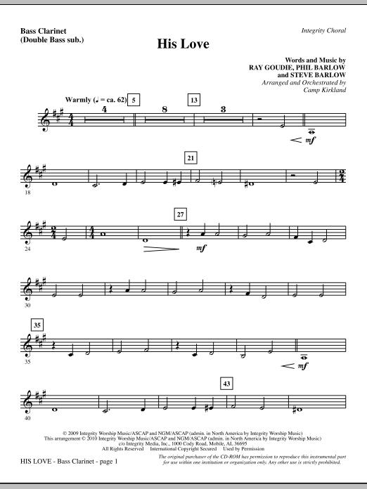 His Love - Bass Clarinet (sub. dbl bass) (Choir Instrumental Pak)