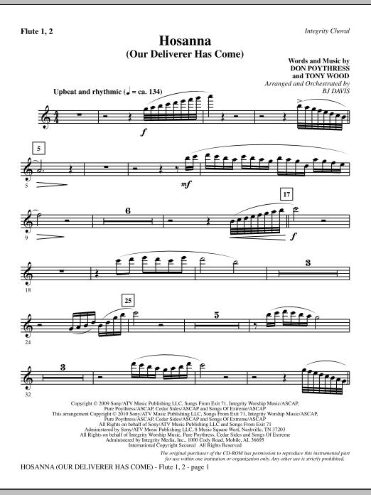 Hosanna (Our Deliverer Has Come) - Flute 1 & 2 (Choir Instrumental Pak)