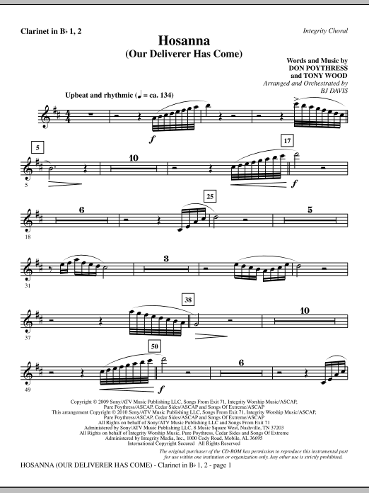 Hosanna (Our Deliverer Has Come) - Clarinet 1 & 2 (Choir Instrumental Pak)