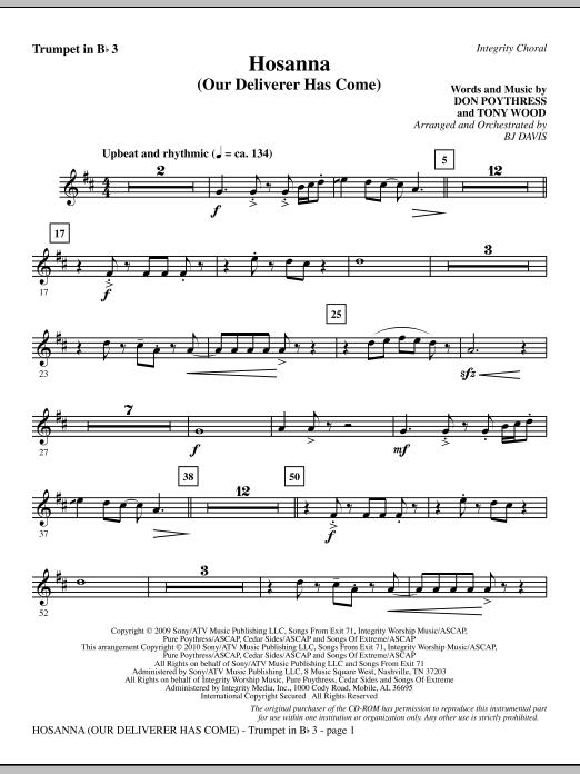 Hosanna (Our Deliverer Has Come) - Bb Trumpet 3 (Choir Instrumental Pak)