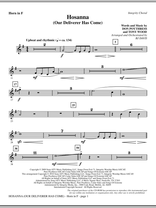 Hosanna (Our Deliverer Has Come) - F Horn Sheet Music