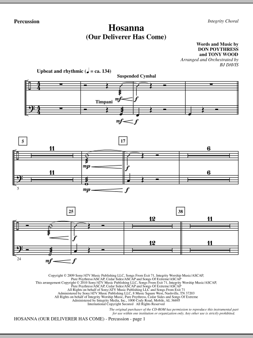 Hosanna (Our Deliverer Has Come) - Percussion Sheet Music