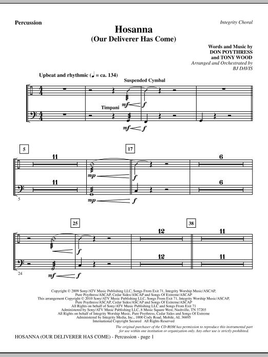 Hosanna (Our Deliverer Has Come) - Percussion (Choir Instrumental Pak)