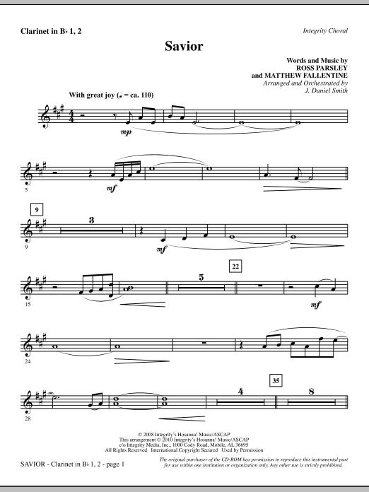 Savior - Clarinet 1 & 2 (Choir Instrumental Pak)