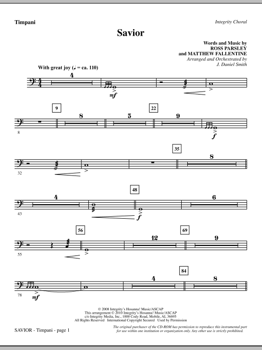 Savior - Timpani Sheet Music