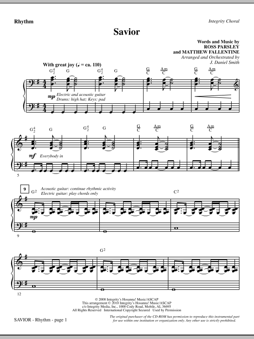 Savior - Rhythm (Choir Instrumental Pak)