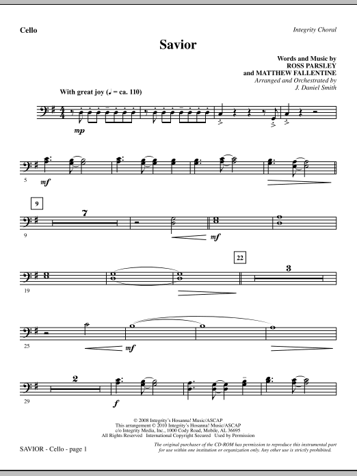 Savior - Cello Sheet Music