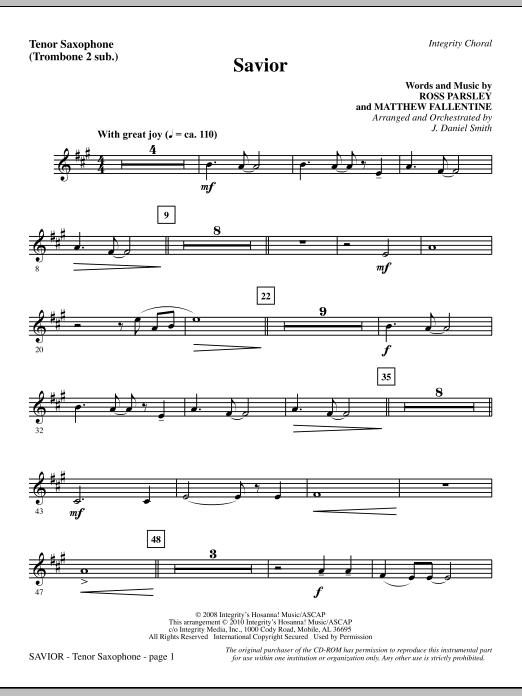 Savior - Tenor Sax (sub. Tbn 2) Sheet Music