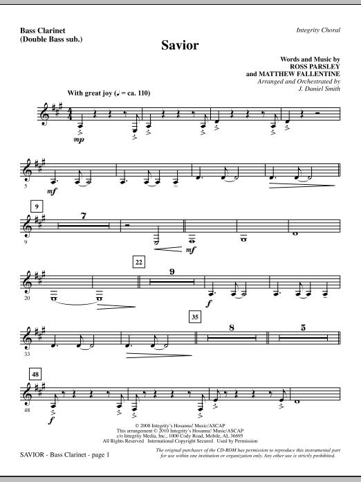 Savior - Bass Clarinet (sub. dbl bass) (Choir Instrumental Pak)
