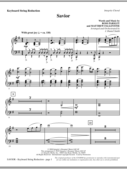 Savior - Keyboard String Reduction Sheet Music