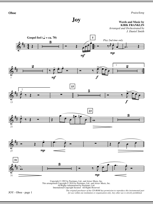 Joy - Oboe Sheet Music