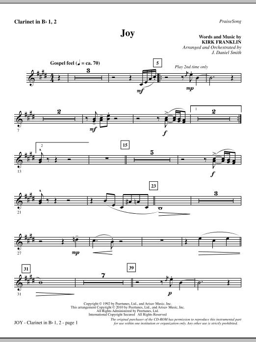 Joy - Bb Clarinet 1 & 2 Sheet Music