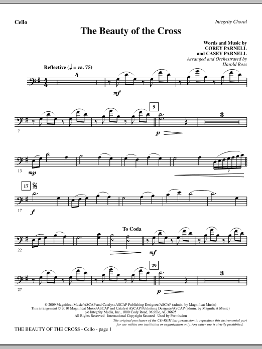 The Beauty Of The Cross - Cello Sheet Music