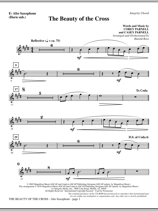 The Beauty Of The Cross - Alto Sax (sub. Horn) Sheet Music