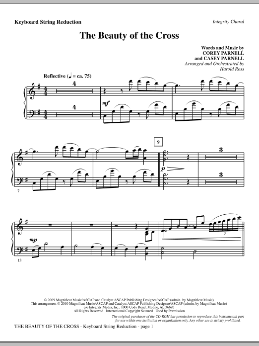The Beauty Of The Cross - Keyboard String Reduction Sheet Music