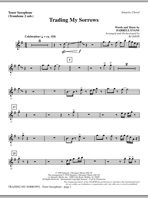 Trading My Sorrows - Tenor Sax (sub. Tbn 2) Sheet Music