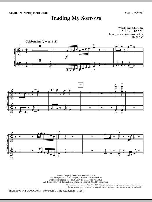 Trading My Sorrows - Keyboard String Reduction Sheet Music
