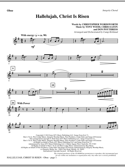 Hallelujah, Christ Is Risen - Oboe Sheet Music