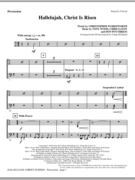 Hallelujah, Christ Is Risen - Percussion Sheet Music