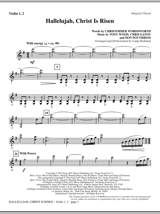 Hallelujah, Christ Is Risen - Violin 1, 2 Sheet Music