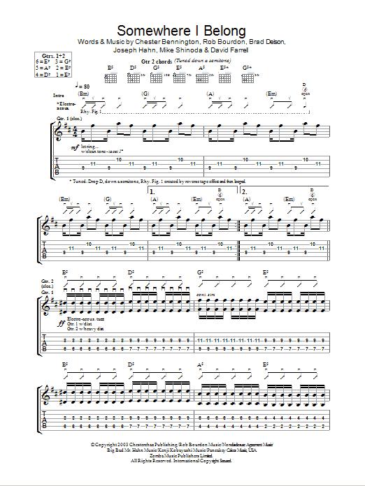 Somewhere I Belong Sheet Music | Linkin Park | Guitar Tab