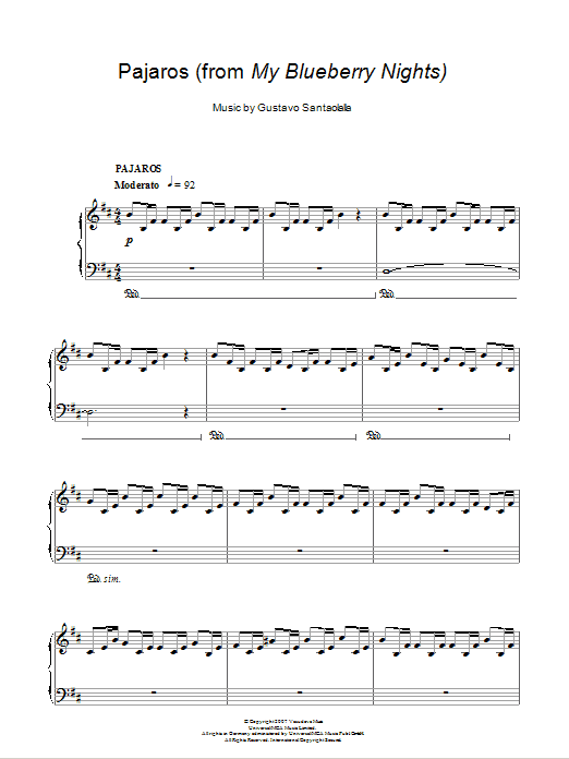 Pajaros (from My Blueberry Nights) Sheet Music