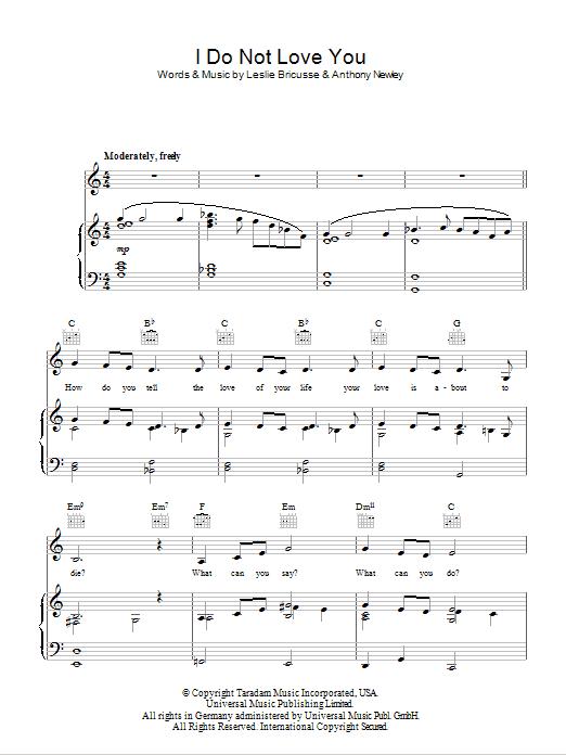 I Do Not Love You (Piano, Vocal & Guitar)