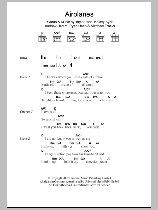 Airplanes Chords