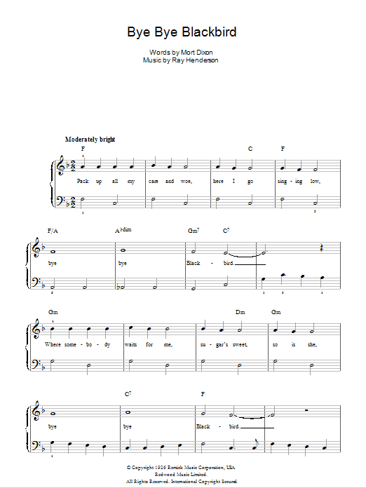Bye Bye Blackbird Sheet Music