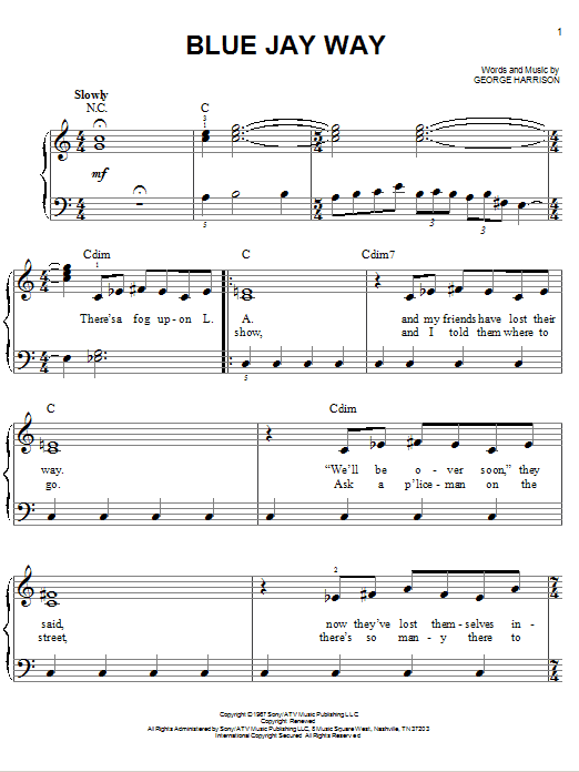 Blue Jay Way Sheet Music