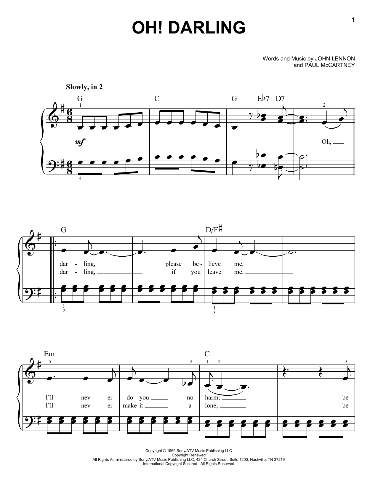 Partition piano Oh! Darling de The Beatles - Piano Facile
