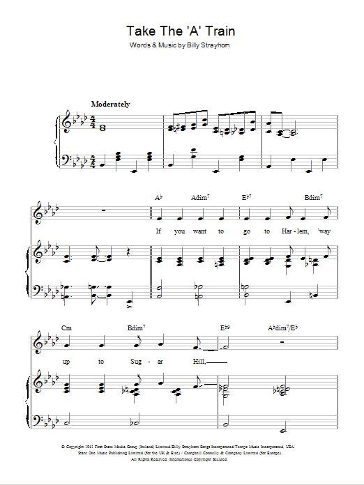 "Take The ""A"" Train (Piano, Vocal & Guitar)"