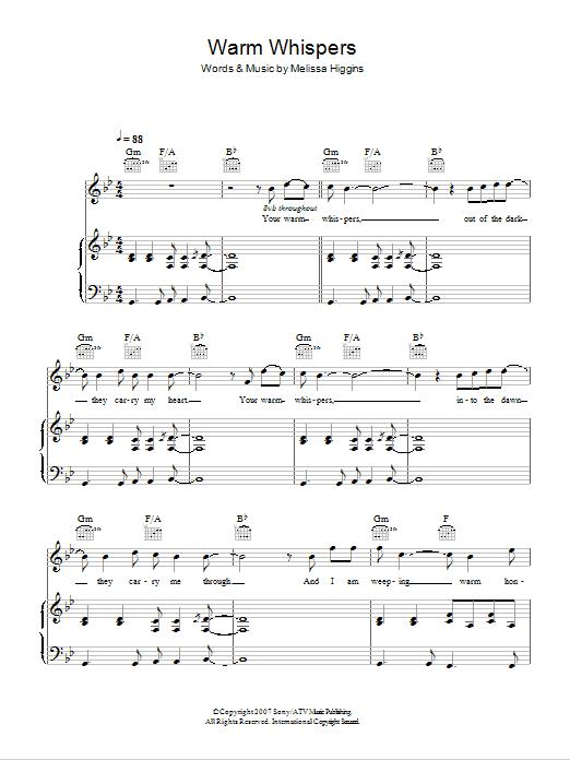 Warm Whispers Sheet Music