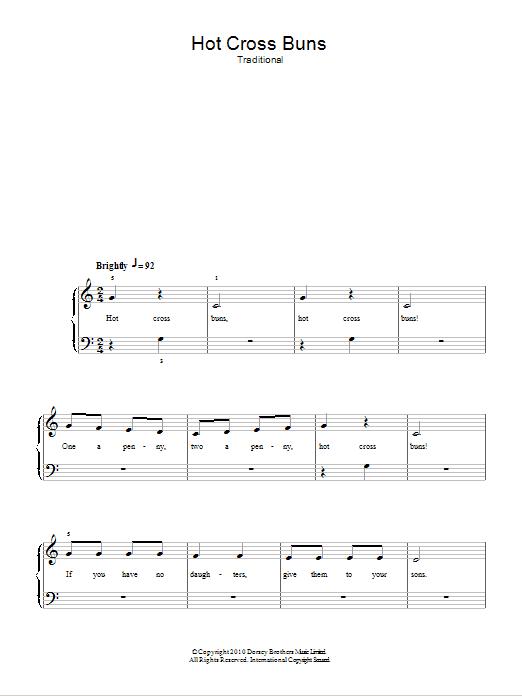 Hot Cross Buns By Traditional Nursery Rhyme 5 Finger Piano Digital Sheet Music