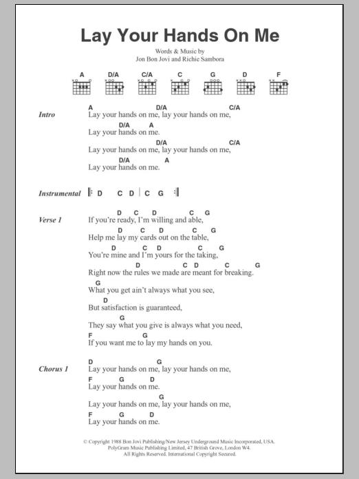 Lay Your Hands On Me by Bon Jovi - Guitar Chords/Lyrics - Guitar