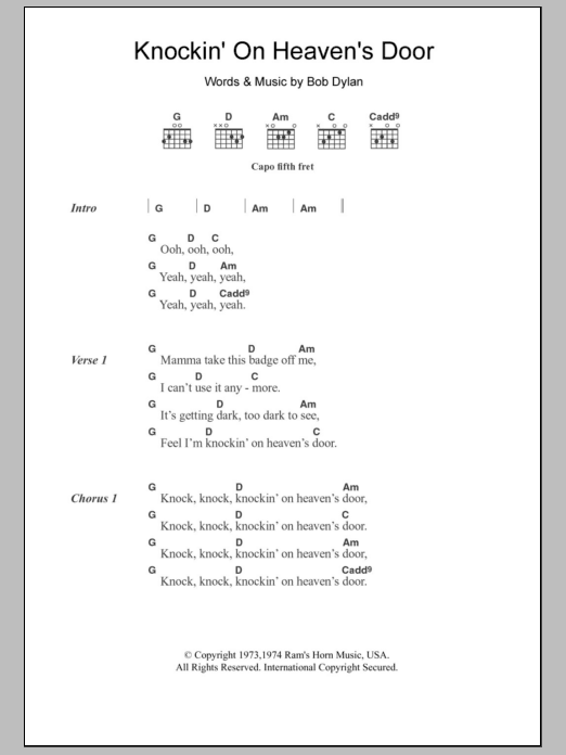 Sheet Preview  sc 1 st  Sheet Music Direct & Knockinu0027 On Heavenu0027s Door | Sheet Music Direct