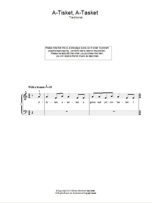 A-Tisket, A-Tasket (Easy Piano)