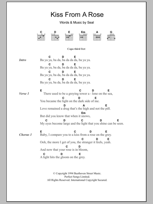 Kiss From A Rose by Seal - Guitar Chords/Lyrics - Guitar Instructor