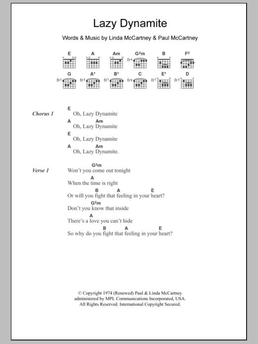 Lazy Dynamite sheet music by Paul McCartney & Wings (Lyrics & Chords ...