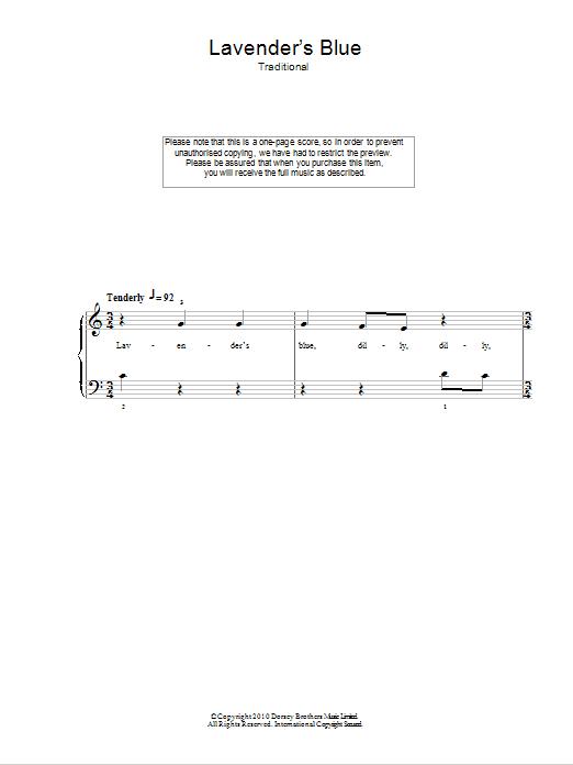 Lavender Blue Sheet Music