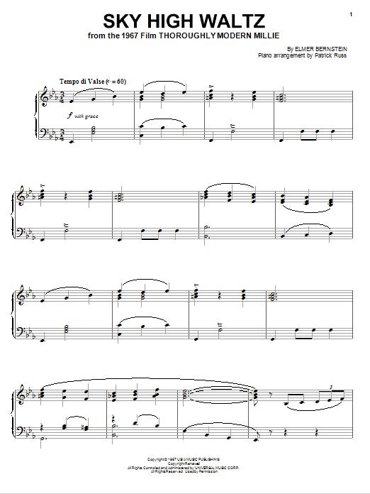 Partition piano Sky High Waltz de Elmer Bernstein - Piano Solo