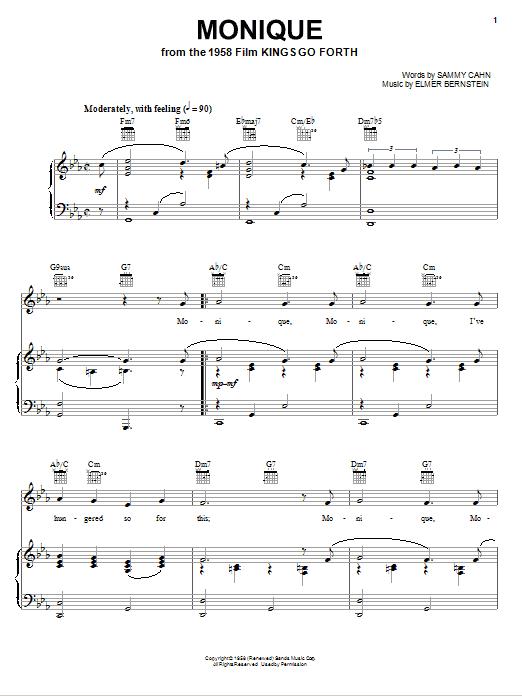 Monique (Piano, Vocal & Guitar (Right-Hand Melody))