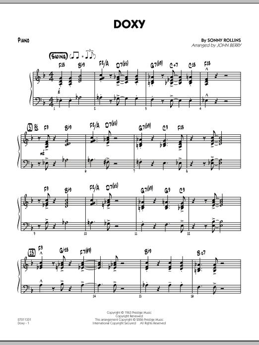 Doxy - Piano (Jazz Ensemble)