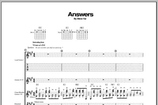 Answers Sheet Music