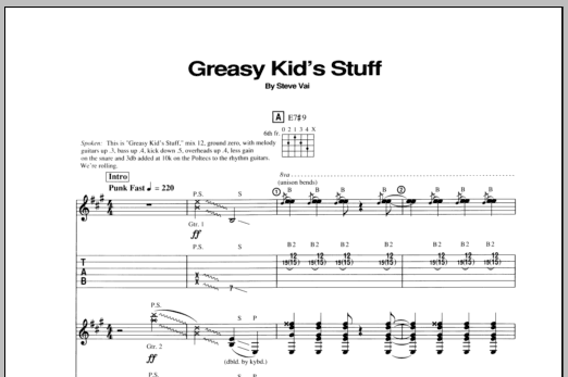 Tablature guitare Greasy Kids Stuff de Steve Vai - Tablature Guitare