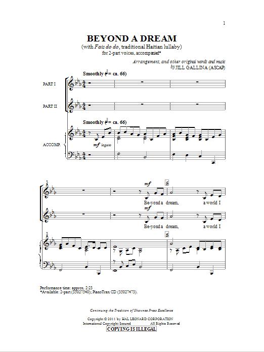 Beyond A Dream (2-Part Choir)